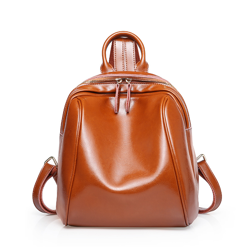 2018 Designer Women 100% Genuine Leather Backpack Oil Wax Cow Leather Vintage Real Leather Backpacks Female Travel Back Pack kajie famous brand designer backpack for women 2018 retro genuine leather female back pack oil wax cow leather ladies travel bag