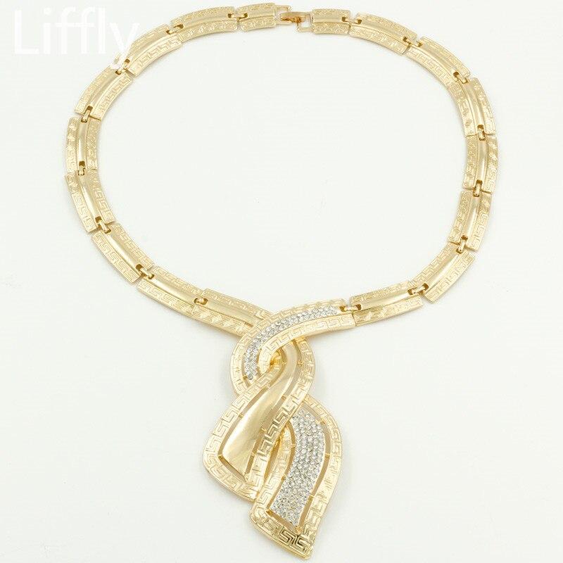 Fashion African Dubai Gold Jewelry Nigerian Crystal Necklace Hoop Earrings Women Italian Bridal Jewelry Sets Wedding Accessories 1