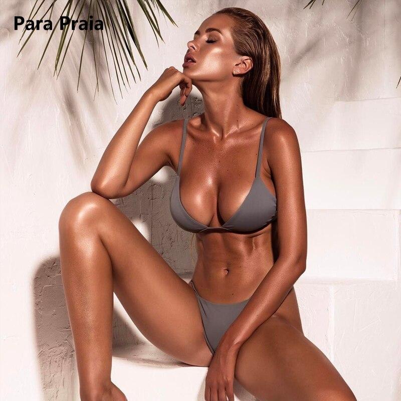 9 Colors Solid Bikini Set 2019 Sexy Push Up Swimwear Women Brazilian Swimsuit Low Waist Biquini Halter Two Pieces Bathing Suit-3