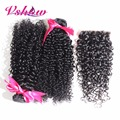 Peruvian Kinky Curly Virgin Hair 3 Bundles Unprocessed Curly Weave Human Hair With Closure Peruvian Curly Hair With Closure