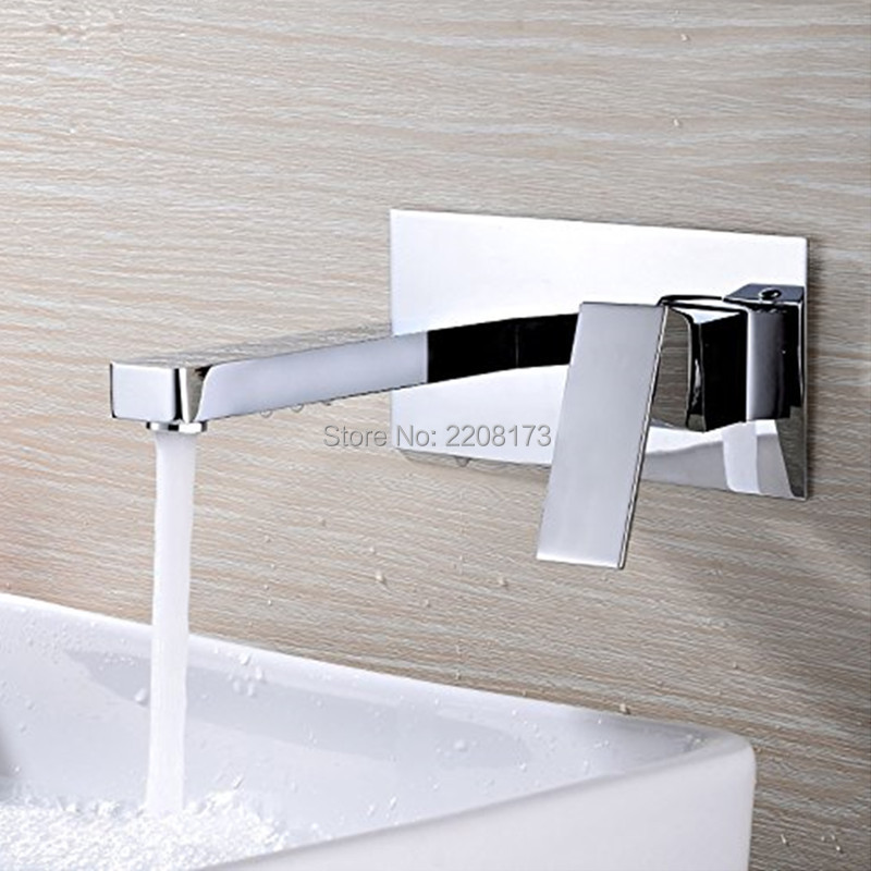 Basin Faucets Excellent Square Chrome Finish Bath Shower Bathtub Wall Sink Basin Mixer Tap Wels Bathroom Vanity Spout Faucet