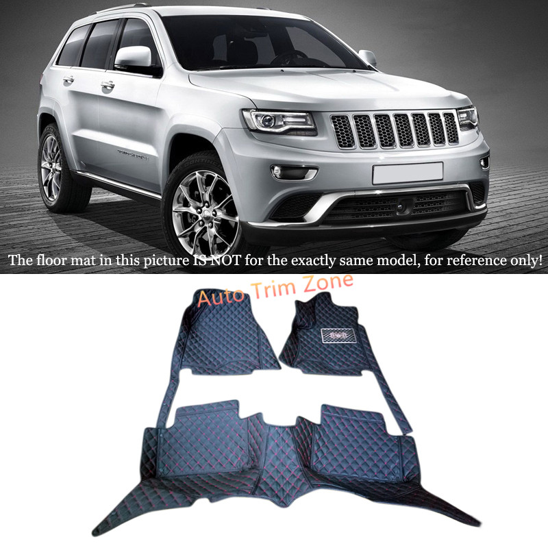 Black Interior Leather Floor Mats & Carpets Foot Pads For Jeep Grand Cherokee 2014-2016