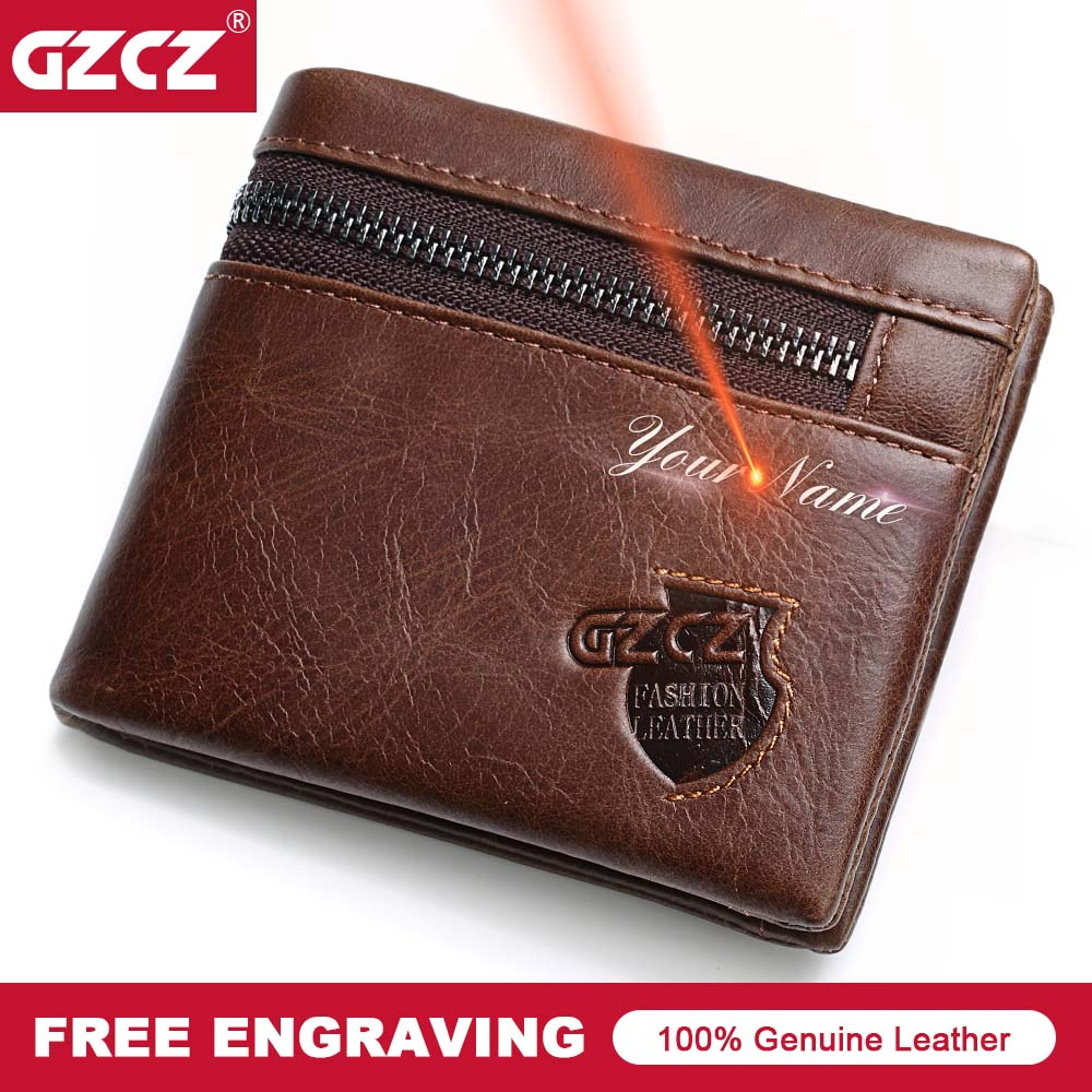 Detail Feedback Questions about GZCZ 100% Genuine Leather Men Wallet Zipper  Men Wallet Portemonnee Gift Male Short Coin Purse Brand Perse Carteira For  Rfid ... 4b6829ceab70
