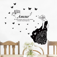 New Design Fashion European And American Style Home Decoration Wall Stickers Black Butterfly Girl Wall Decals