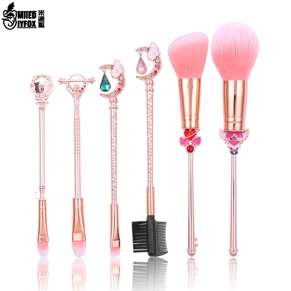 цена Sailor Moon Makeup Brushes Set Foundation Blending Powder Eyeshadow Contour Concealer Blush Cosmetic Beauty Make Up Tool