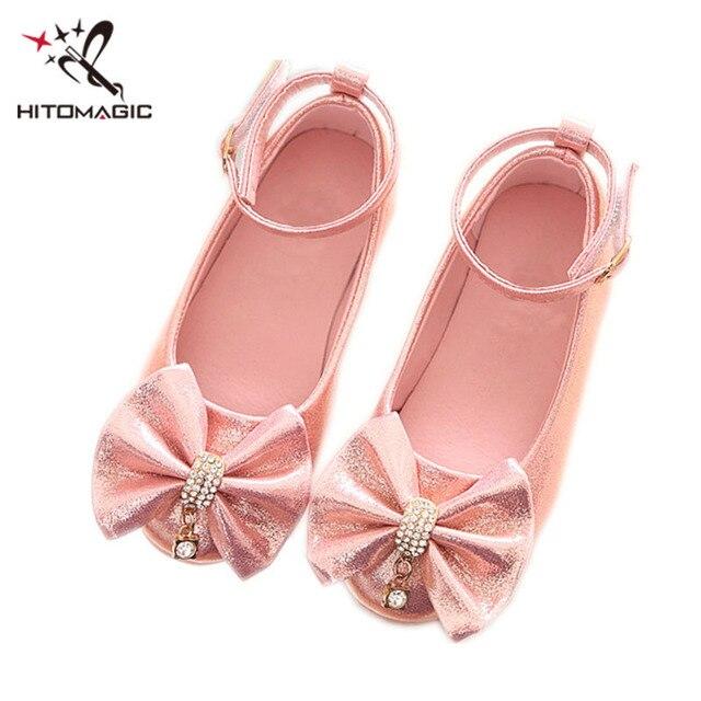 HITOMAGIC Girls Shoes Princess Children s High Heel Shoes Wedding Dance Sandals  Girls Bowknot Rhinestones Shoe Girl Leather a3db603ed093