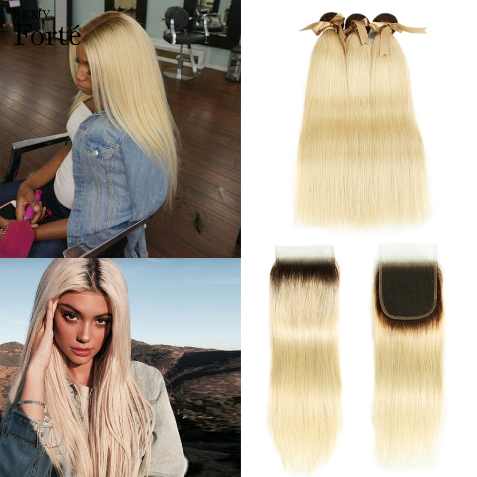 Remy Forte Ombre Bundles With Closure Brazilian Straight Hair 613 Honey Blonde Bundles With Closure Remy