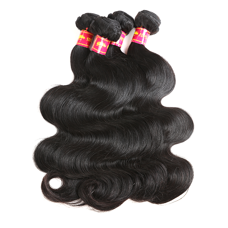 Ali Queen Hair Pro. Ratio 9A Brazilian Virgin Human Hair Body Wave 3 Bundles With Closure Free/Middle/Three Part Natural Color
