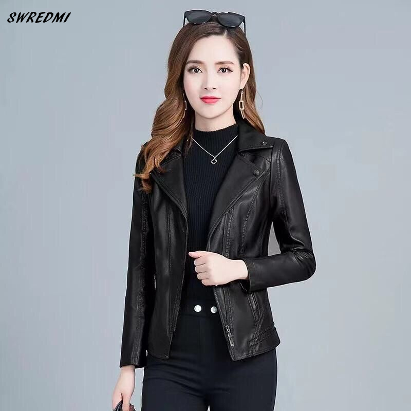 SWREDMI   Leather   Coat For Women 2019 New Slim   Leather   Clothing Ladies Plus Size L-5XLFemale Jacket Outerwear   Suede   Tops