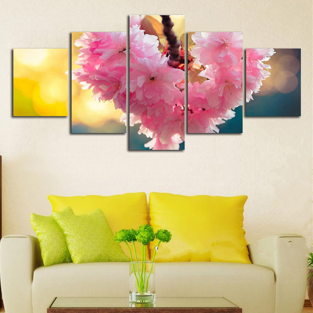 Free Shipping Amazing Cherry Blossoms 5 Pieces Flower Canvas Art ...