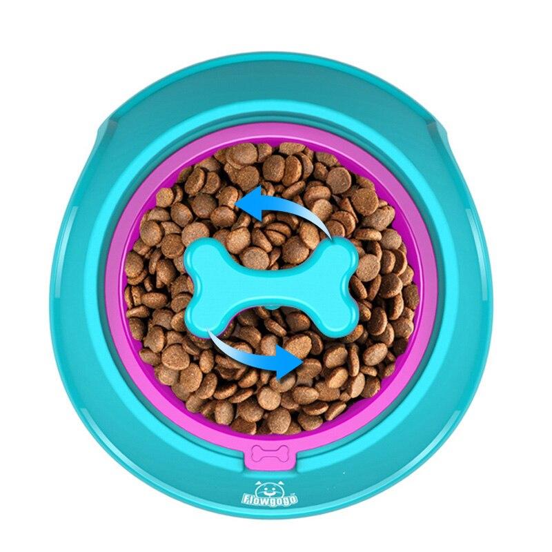 FLOWGOGO Spaß Knochen Geformt Langsam Feeder Hund Futternäpfe Wasser Schüssel Gerichte für Welpen Kleinen Großen Hund Fütterung (S-700ml blau)