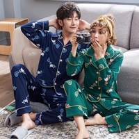 Spring And Autumn Women's Pajamas Lovely Men Sleepwear Cotton Long Sleeve Cartoon Pajamas Women Couples Pajama Sets
