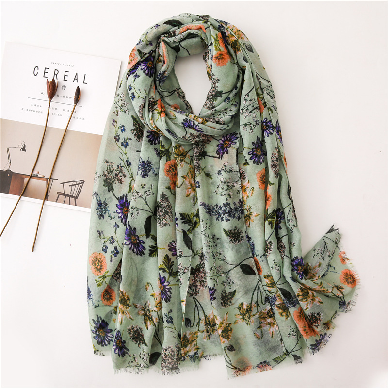2019 Brand Women Fashion Natural Floral   Scarf   Autumn Winter Viscose   Scarves   Lady Pashmina Shawl   Wraps   Bandana Foulard 180*90Cm