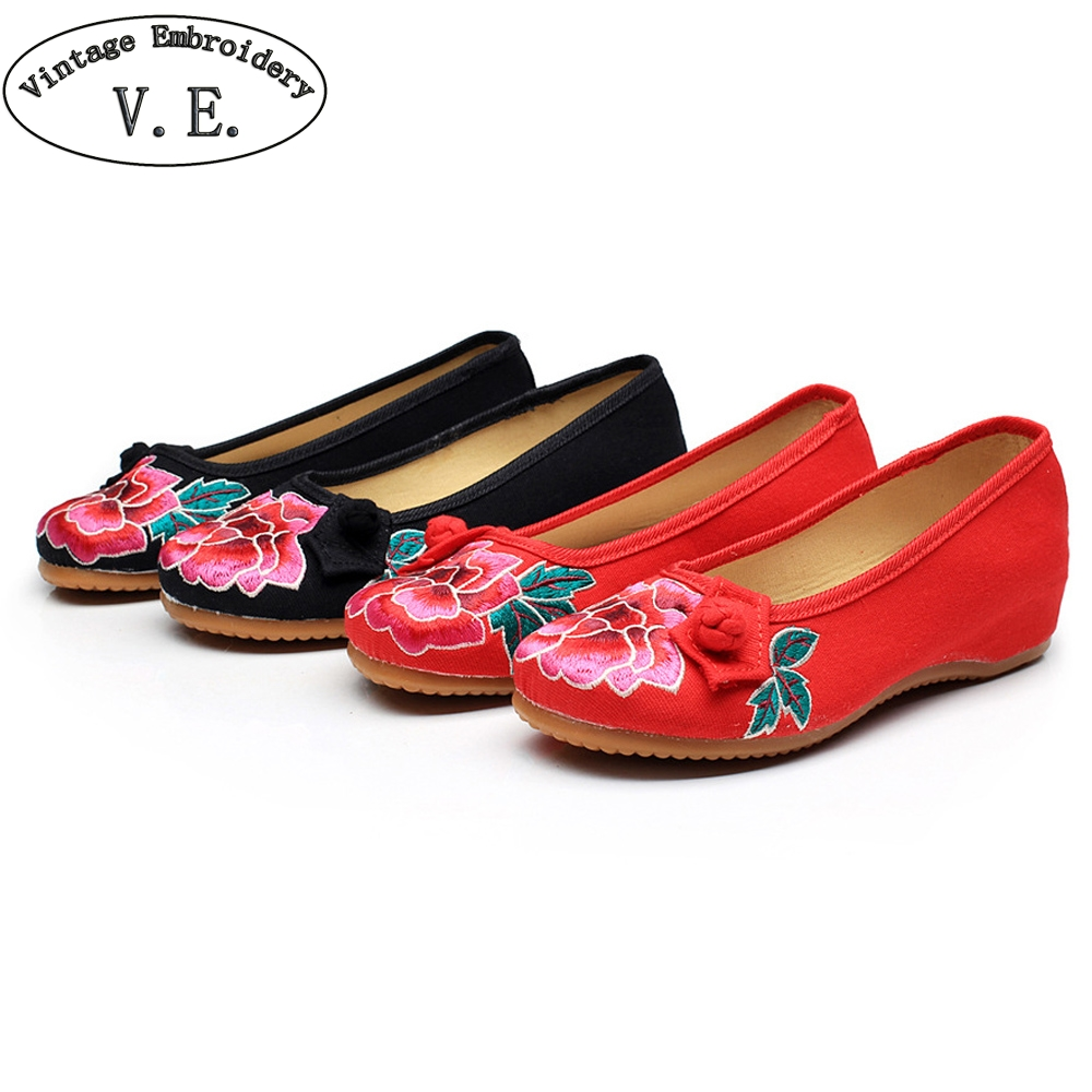 Vintage Embroidery Spring Autumn Women Flat Shoes Chinese Woman Old Peking Floral Embroidered Shoes Soft Comfort Canvas Shoes vintage pumps spring autumn old beijing embroidery cloth shoes fairy girl embroidered national han chinese women s shoes
