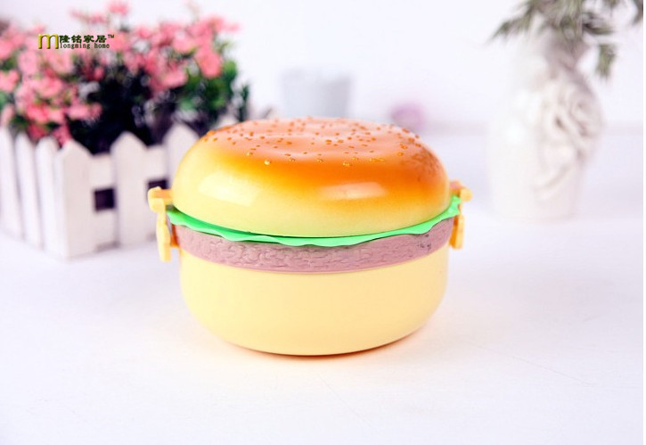 1pc high quality cute 800ml huge hamburger shaped lunch box bento food outdoor picnic container. Black Bedroom Furniture Sets. Home Design Ideas