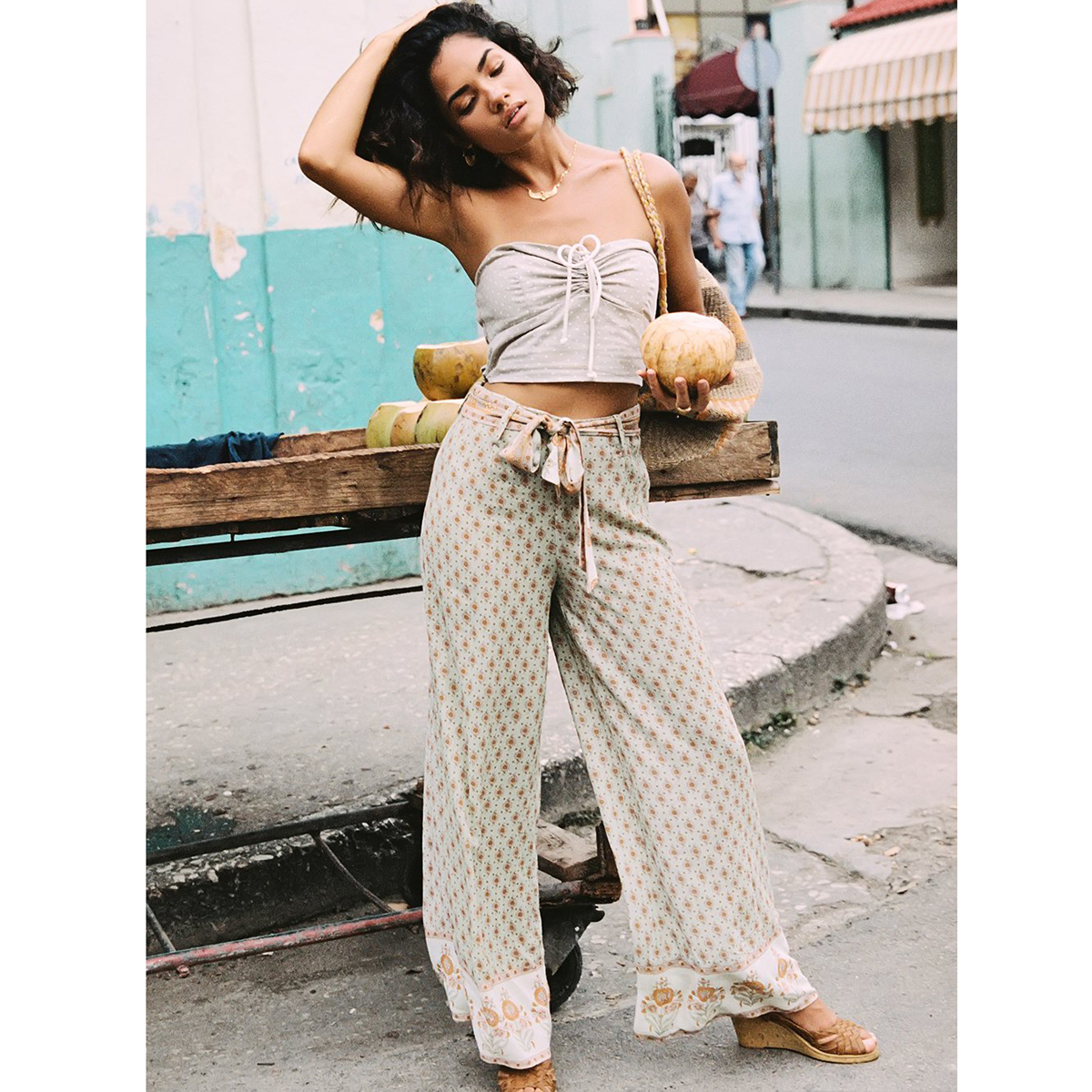 Jastie Loose Casual   Wide     Leg     Pants   High Waist with Belt Hippie chic Boho   Pants   Floral Print Beach Long Trousers Women Clothing