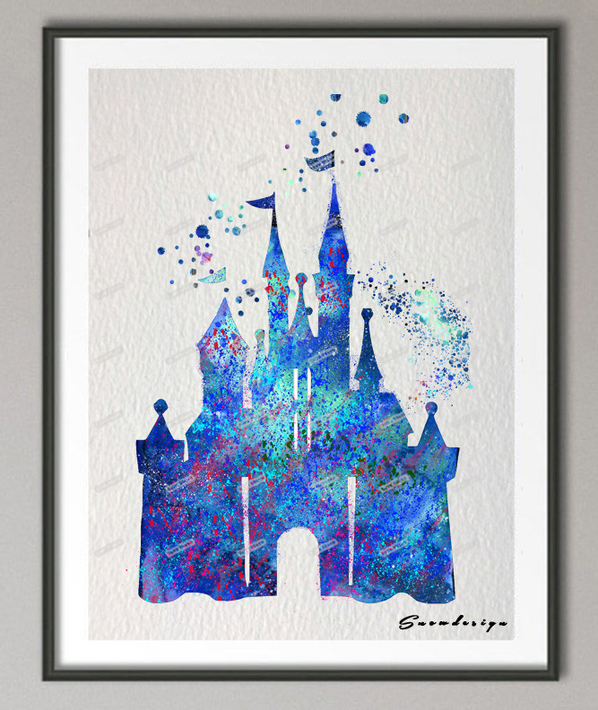 Original watercolor Princess Cinderella Blue Castle canvas