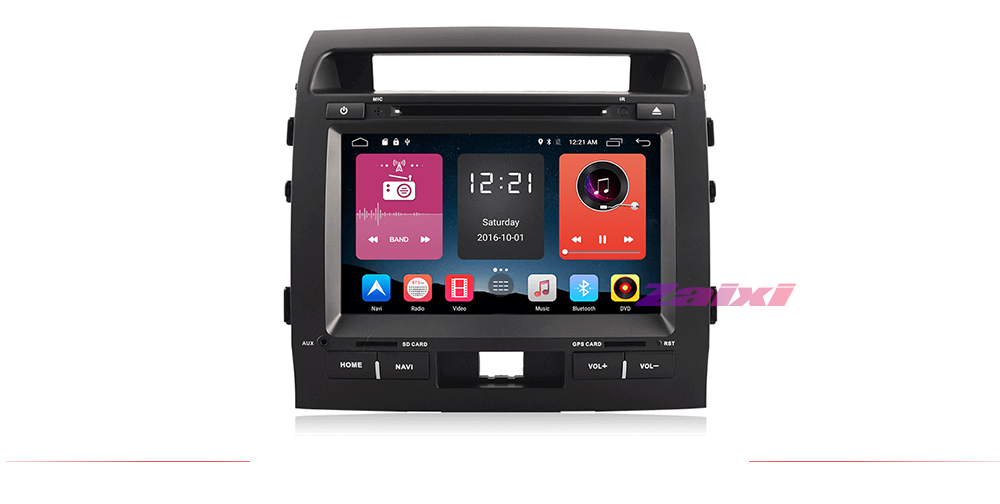 ZaiXi Android Car Multimedia player 2 Din WIFI GPS Navigation Autoradio For Toyota Land Cruiser LC200 2008~2012 GPS Radio Maps 7