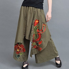 2017 Spring Ethnic Wide Leg Boho Harem Pants Embroidery Chinese Pattern Women Trousers
