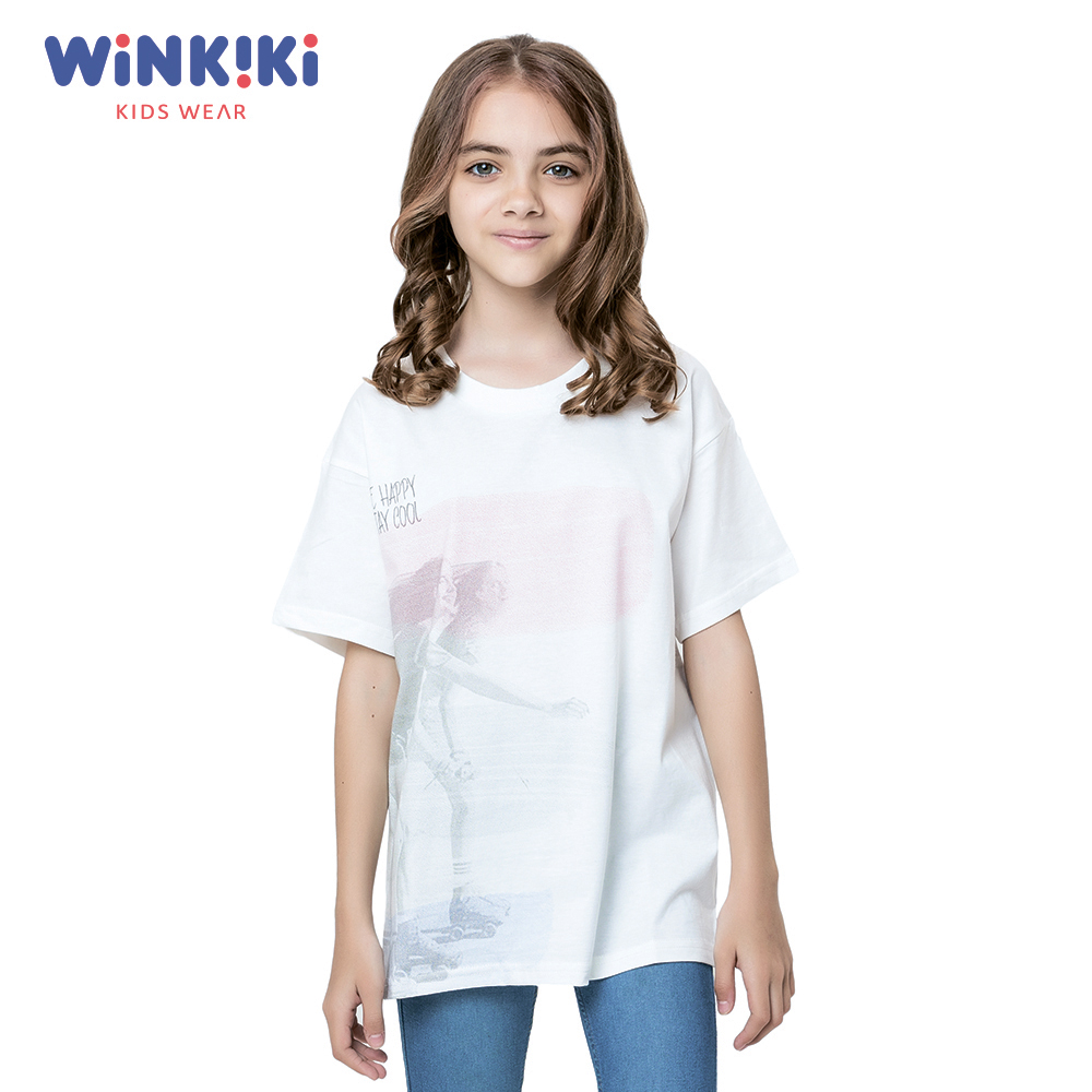 T-Shirts WINKIKI WTG91443 T-shirt kids children clothing Cotton White Girls Casual shein kiddie white cartoon print casual t shirt toddler girl tops 2019 spring fashion short sleeve girls shirts kids tee