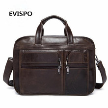 Genuine Leather Men bag Briefcase Leather Briefcase 15″ Laptop Business Bag Men's Messenger Bags men's travel bags Handbag 2017
