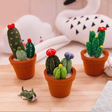 Cactus Succulents Potted Decoration Handmade Sewing Cute Felt Green Plant Potted Free Cutting Material Craft Kit For Home&Office