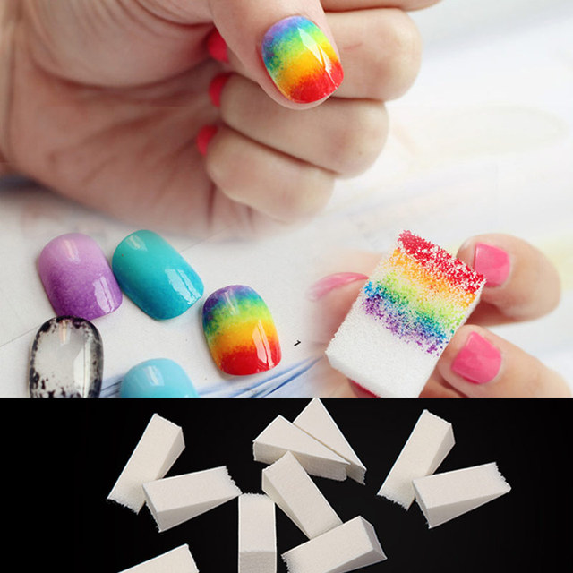 8pcs Gradient Nails Soft Sponge Color Fade Natural Magic Simple ...