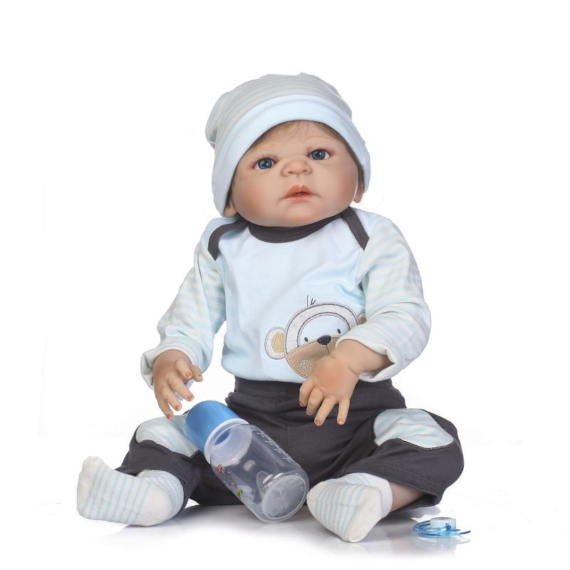 22 Inch Doll Reborn Full silicone Vinyl Babies For Girls Manual implantation Hair Realistic Alive Soft Baby Doll bonecas reborn22 Inch Doll Reborn Full silicone Vinyl Babies For Girls Manual implantation Hair Realistic Alive Soft Baby Doll bonecas reborn
