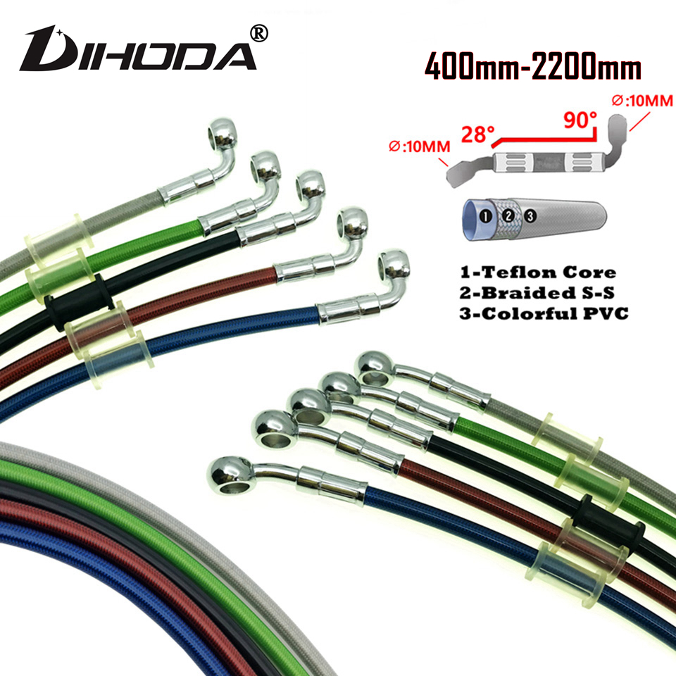 400mm - 2200mm 28 & 90 degrees multicolour Motorcycle Hydraulic Brake Hose Line Cable M10 Banjo Pipe Line Braided oil hose(China)