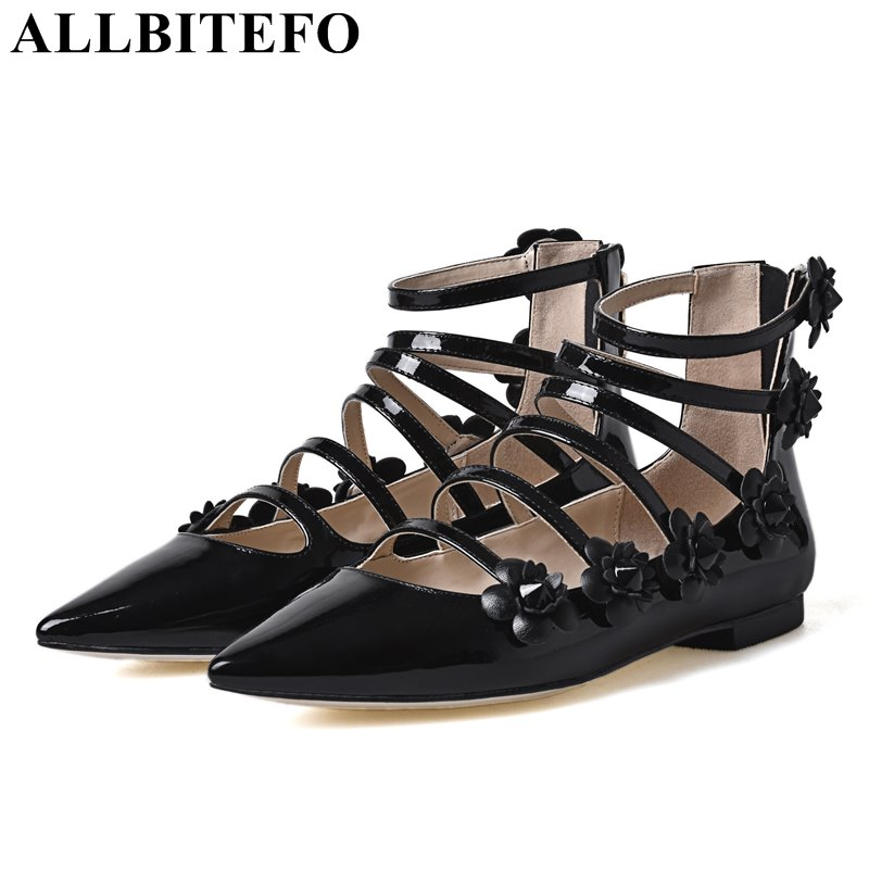ALLBITEFO full genuine leather pointed toe sweet flowers women flats brand comfortable high quality grls shoes flat shoes fashion women shoes woman flats high quality comfortable pointed toe rubber women sweet flats hot sale shoes size 35 40
