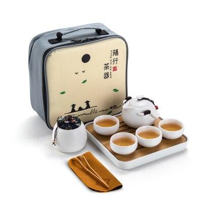 Chine yixing thé en céramique/voyage en plein air portable 1 théière 4 tasses/plateau en bambou pour recevoir le sac à main/accessoires de thé gongfu