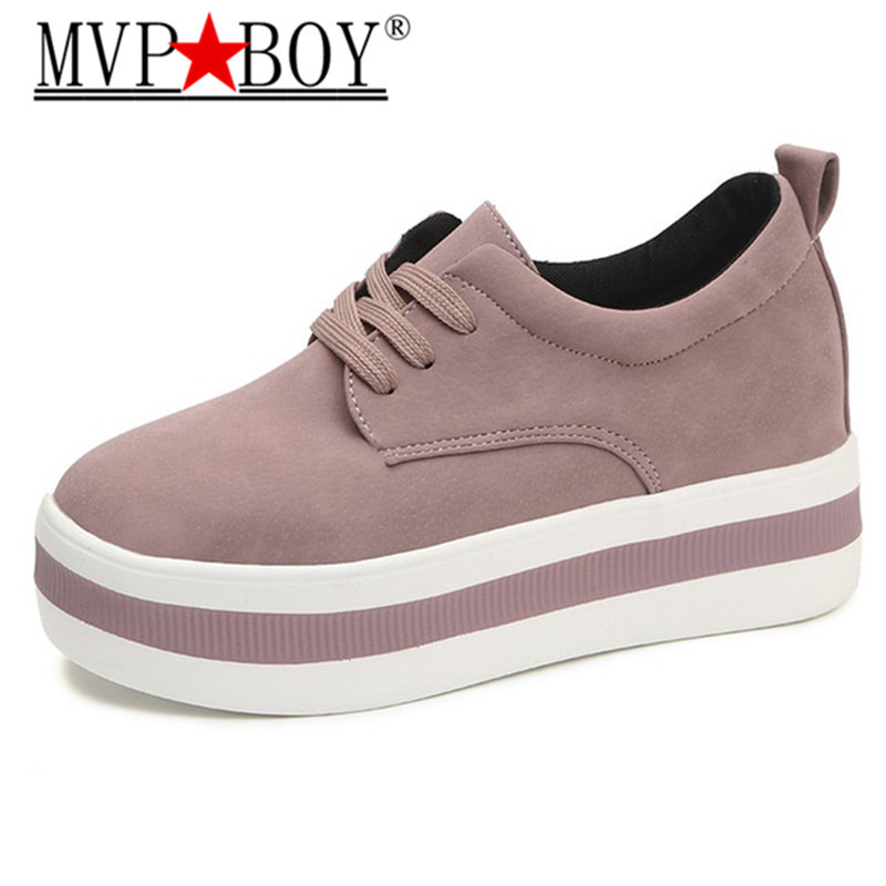 MVP BOY  Ladies Casual Shoes 2018 Spring Fashion Womens British Style Increases Women Platform