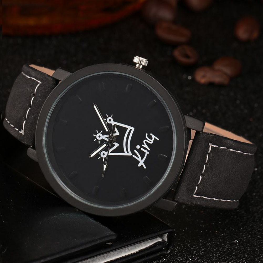 King Queen Leather Watches Women Lovers Quartz Watch Men Brand Luxury Wristwatch Female Male Quartz Lover`s Watches NFE99