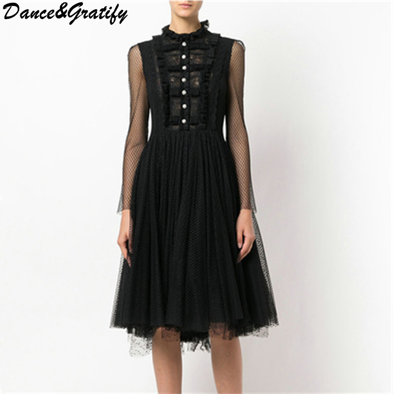 Ruffled Collar Princess Party Dress 2018 New Spring And Summer Vacation Chic Fashion Lady Lace Mesh Brand Runway Dress