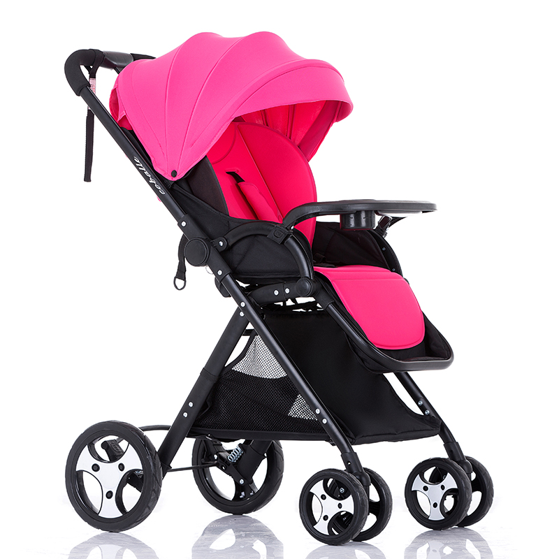 Coballe baby stroller high landscape can sit and lie baby trolleys, folding general four suspension high landscape baby stroller can sit and lie in a folding baby four seasons universal newborn baby summer baby stroller