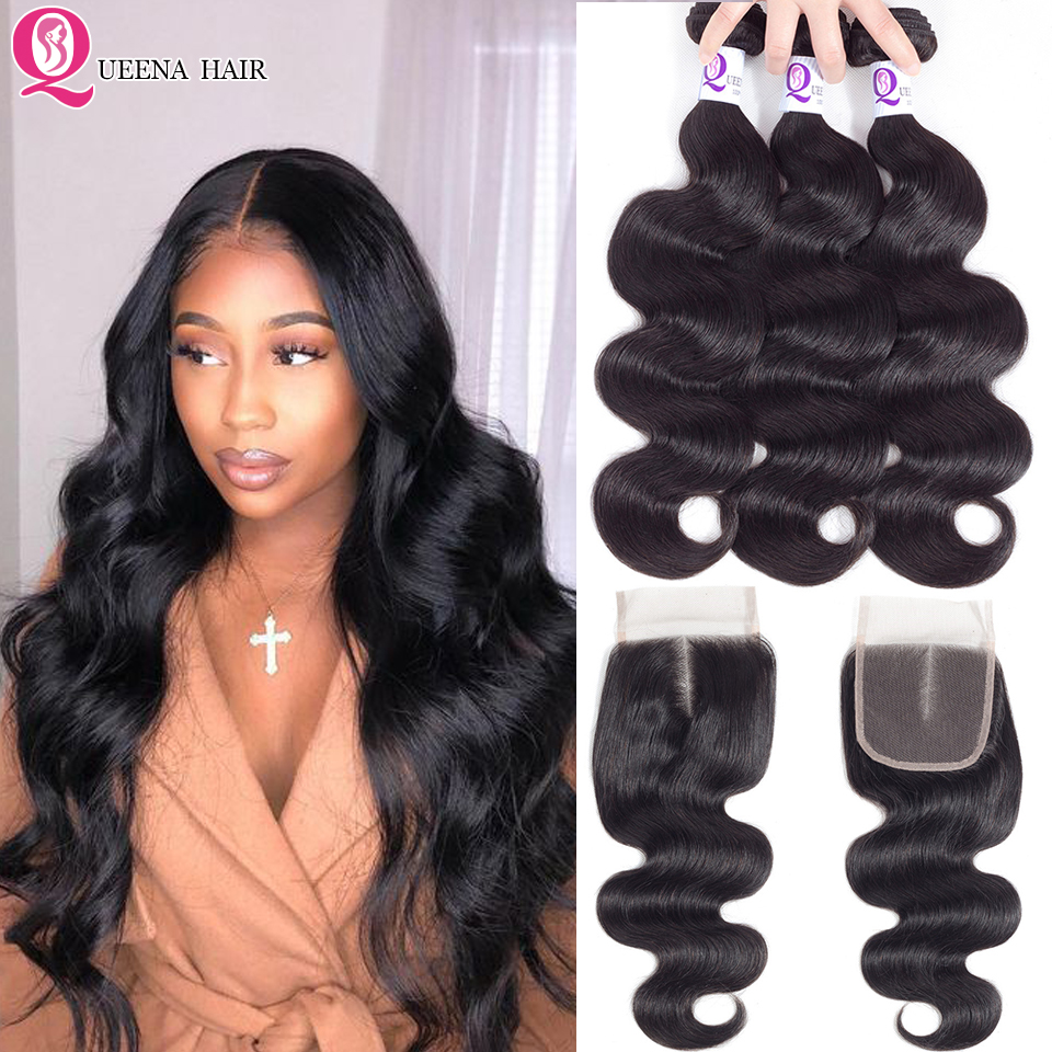Body Wave Human Hair Bundles With Closure Natural Color Remy Peruvian Hair Bundles Deals With Closure Swiss Lace With Baby Hair