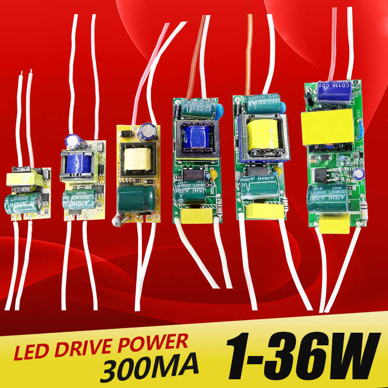 1-3 W, 4-7 W, 8-12 W, 15-18 W, 20-24 W, 25-36W LED Driver Power Supply Built-In Konstan Saat Ini Pencahayaan 110-265V Output 300mA Transforme