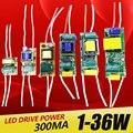 1-3 W 4-7 W 8-12 W 15-18 W 20-24 W fuente de alimentación del controlador LED 25-36 W iluminación de corriente constante incorporada 110-265 V salida 300mA transformador