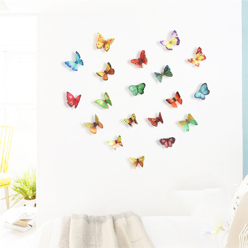 21 PCS 3D DIY Butterfly PVC Art Decal Home Decor Kids Room Wall Mural Stickers Aug24 Professional Drop Shipping