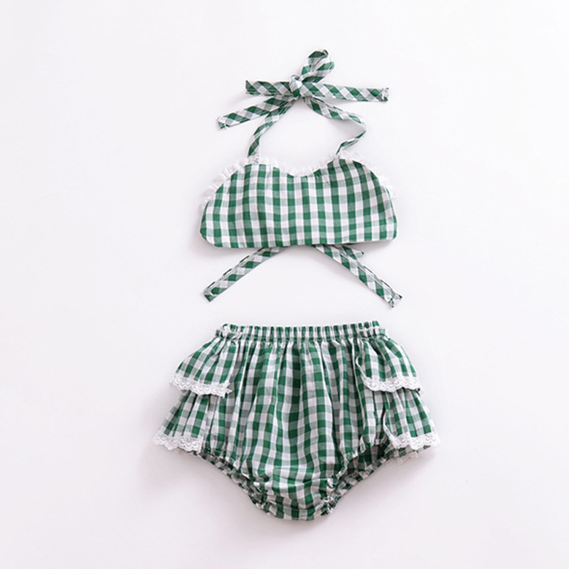 Summer Newborn Baby Girl Clothes Green Plaid Navel Tie Top + Lace PP Shorts 2PCS Outfits Toddler Kids Clothing Set