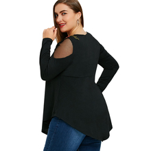 Plus Size 5XL Embroidery Fishnet Insert Babydoll Top Women Fashion Black Oversized Female Tops