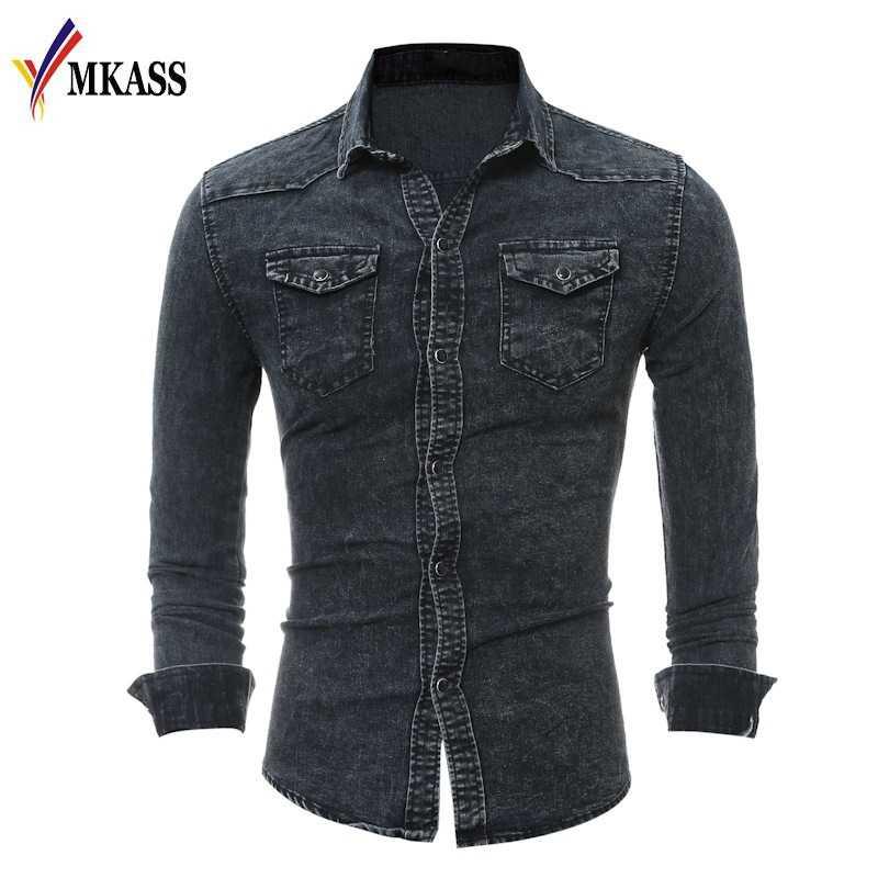 a79919ba41f 2019 Hot New Fashion Men Shirt Brand Male Long Sleeve Shirts Casual Solid  Color Denim Slim
