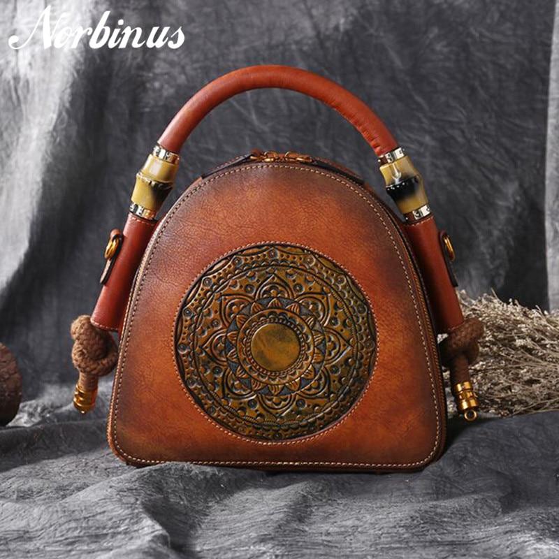 Norbinus 100% Genuine Leather Shoulder Bag Luxury Vintage Cowhide Women Handbag Manual Crossbody Messenger Bags Top Handle Hobos-in Top-Handle Bags from Luggage & Bags    2