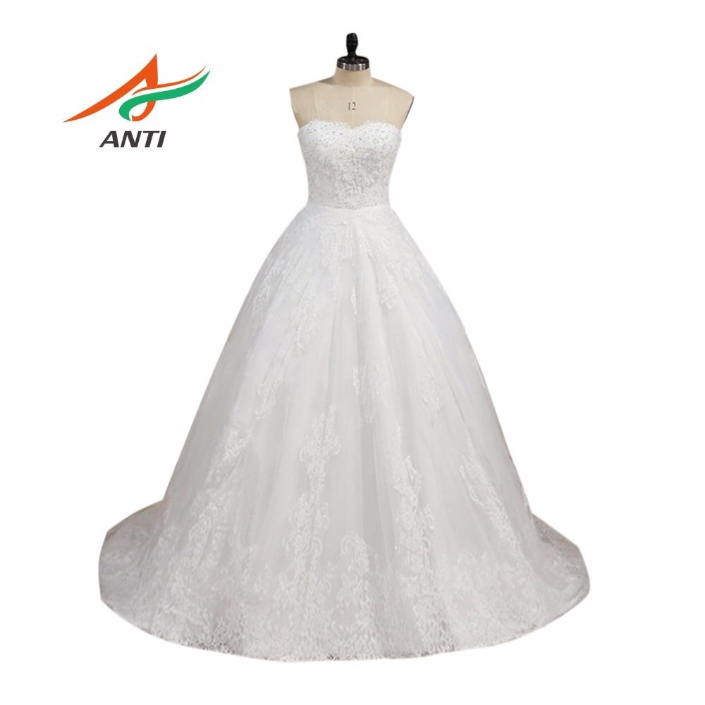 ANTI romantické plesové šaty svatební šaty 2019 s dlouhým rukávem aplikace tlačítka krajka krystal Robe De Mariee elegantní svatební šaty  t