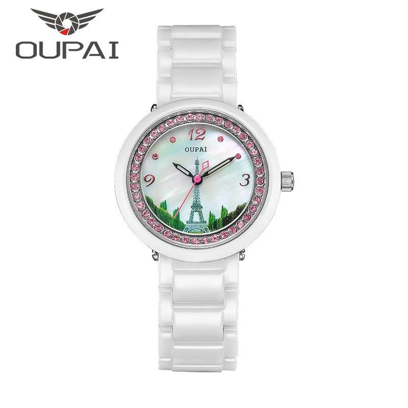 OUPAI keramika žena hodinky Eiffelova věž shell obličej design módní diamant dámy hodinky Quartz keramické hodinky náramek pro ženy