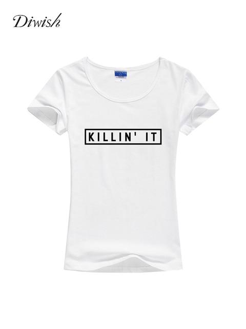 Diwish Woman Short Sleeve T-shirt Summer Basic Tshirt Plain Casual Letter Printed Tshirt Slim Fit Female Cotton T Shirt Tops