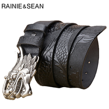 RAINIE SEAN Dragon Buckle Belt Men Real Leather Pin Male Black Genuine Cow Embossed Casual Business Luxury Belts