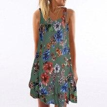 Boho Beach Floral Print Mini Dress Women Summer Elegant Party Dress Tunic Sleeveless V-neck Loose Dresses Vestidos Plus Size 5XL недорого