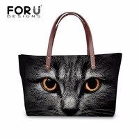 FORUDESIGNS Black Cat Pattern Women Handbag Big Totes Casual Should Bags Cross body Bag for Women Summer Beach Waterproof Bags