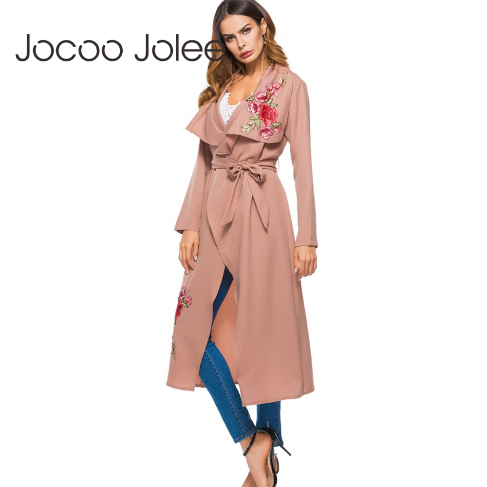 Jocoo Jolee 2018 New Fashion Embroidered Floral X-Long Coat Long Sleeve Open Stitch Casual Loose   Trench   Outwear Autumn Winter